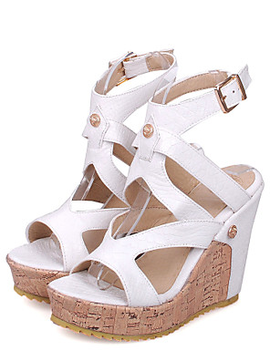 cheap Bras-Women's Sandals Spring / Summer Wedge Heel Peep Toe Sexy Sweet Preppy Daily Party & Evening Buckle Solid Colored PU White / Black