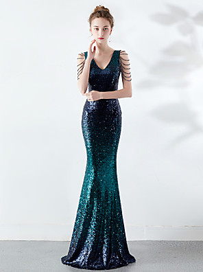 cheap Evening Dresses-Mermaid / Trumpet Elegant & Luxurious Elegant Formal Evening Dress Plunging Neck Sleeveless Sweep / Brush Train Sequined with Sequin 2020