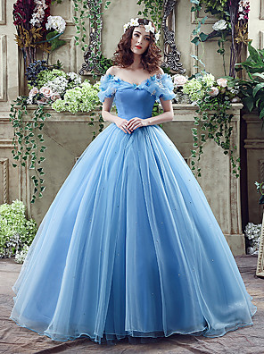 cheap Evening Dresses-Ball Gown Sexy Blue Quinceanera Prom Dress Off Shoulder Short Sleeve Chapel Train Satin Tulle with Appliques 2020 / Puff / Balloon Sleeve