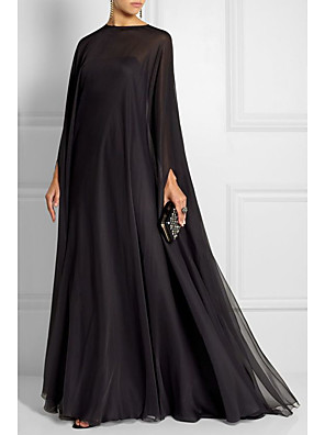 cheap Prom Dresses-Sheath / Column Empire Black Wedding Guest Formal Evening Dress Boat Neck Long Sleeve Sweep / Brush Train Chiffon with Pleats 2020