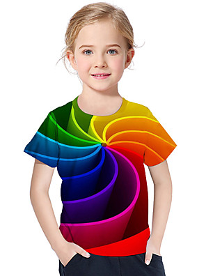 cheap Boys' Tops-Kids Toddler Girls' Active Basic Geometric Print Color Block Print Short Sleeve Tee Rainbow