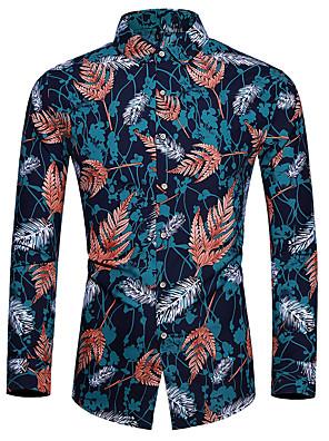 cheap Shirts-Men's Floral Shirt Basic Casual Navy Blue