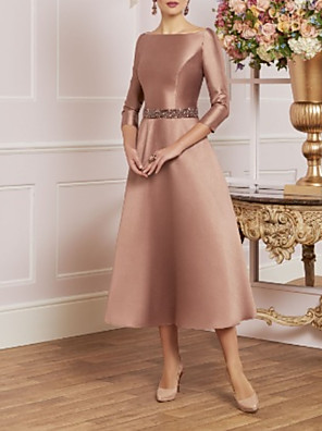 cheap Evening Dresses-A-Line Mother of the Bride Dress Elegant Vintage Plus Size Jewel Neck Tea Length Satin 3/4 Length Sleeve with Crystals 2020