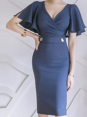 abordables Robes Femme-Femme Robe Moulante Mi-long Manches Courtes Basique Couleur Pleine Col en V Mince Bleu Violet Vert S M L XL XXL XXXL XXXXL XXXXXL