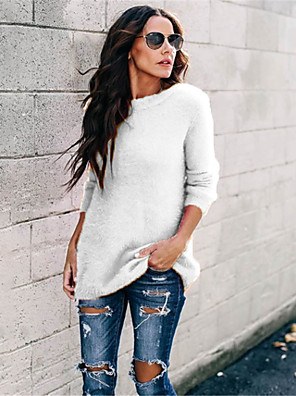cheap Women's Sweaters-Women's Solid Colored Long Sleeve Pullover Sweater Jumper, Round Neck Spring / Fall Black / Light Blue / White S / M / L