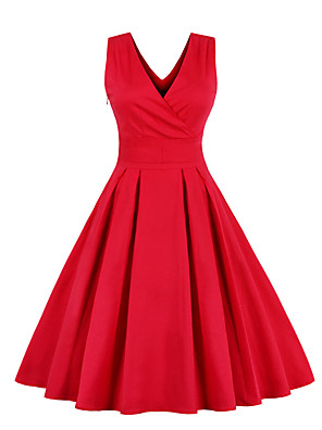 cheap Cocktail Dresses-A-Line Elegant Vintage Cocktail Party Homecoming Dress V Neck Sleeveless Knee Length Spandex with Pleats 2020