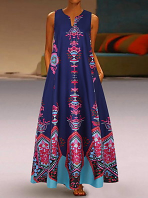cheap Maxi Dresses-Women's Maxi Loose Dress - Sleeveless Geometric Pocket Print Spring & Summer V Neck Casual Plus Size Abaya Holiday Vacation 2020 White Black Blue Yellow Light Blue S M L XL XXL XXXL XXXXL XXXXXL