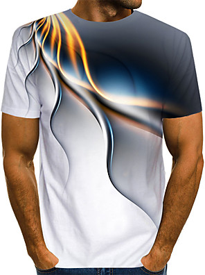 cheap Men's Tees & Tank Tops-Men's Daily T-shirt Abstract Graphic Print Short Sleeve Tops Streetwear Exaggerated Round Neck White Blue Purple / Summer