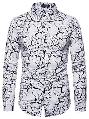 cheap Shirts-Men's Geometric Print Shirt Punk & Gothic Party Daily White / Black