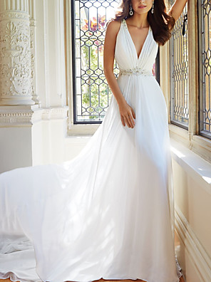 cheap Wedding Party Dresses-A-Line Wedding Dresses V Neck Court Train Chiffon Spaghetti Strap with Lace 2020