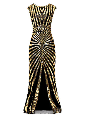 cheap Special Occasion Dresses-The Great Gatsby Charleston Mermaid / Trumpet Elegant Vintage Inspired Formal Evening Dress Jewel Neck Sleeveless Floor Length Polyester with Beading Sequin 2020