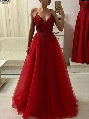 cheap Evening Dresses-A-Line Sparkle Red Prom Formal Evening Dress Spaghetti Strap Sleeveless Sweep / Brush Train Tulle with Beading Appliques 2020