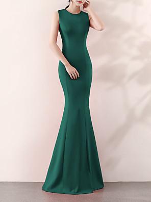 cheap Evening Dresses-Mermaid / Trumpet Elegant & Luxurious Elegant Formal Evening Dress Jewel Neck Sleeveless Sweep / Brush Train Satin with 2020