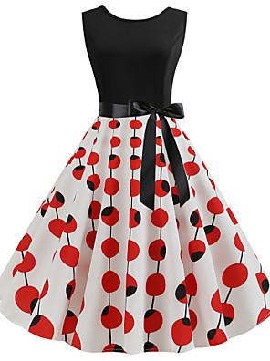 cheap Women's Dresses-Women's A Line Dress - Sleeveless Polka Dot Floral Patchwork Print Vintage Street chic Wine White Black Blue Red Yellow Blushing Pink Royal Blue S M L XL XXL / Cotton