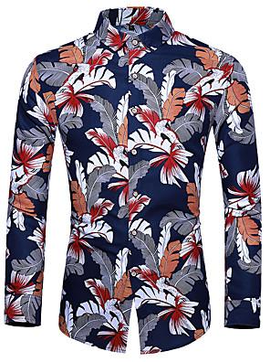 cheap Shirts-Men's Floral Shirt Basic Casual Blue / Red
