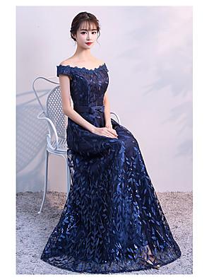 cheap Evening Dresses-A-Line Elegant Sparkle & Shine Formal Evening Dress Off Shoulder Short Sleeve Floor Length Lace Satin with 2020