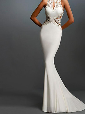 cheap Evening Dresses-Mermaid / Trumpet Elegant White Engagement Formal Evening Dress Halter Neck Sleeveless Sweep / Brush Train Lace Stretch Satin with Lace Insert Appliques 2020