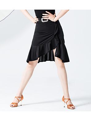 cheap Evening Dresses-Latin Dance Skirts Ruffles Women's Training Performance Natural Elastane Polyester