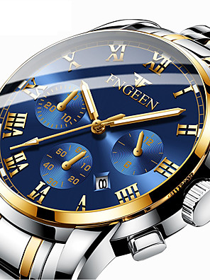 cheap Quartz Watches-FNGEEN Men's Dress Watch Quartz Formal Style Modern Style Luxury Calendar / date / day Stainless Steel Black / Silver / Gold Analog - Black / White Golden+Silver Black / Blue One Year Battery Life