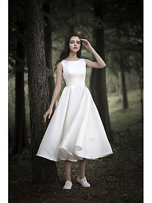 cheap Cocktail Dresses-A-Line Wedding Dresses Jewel Neck Tea Length Chiffon Over Satin Cap Sleeve Simple Casual Little White Dress with 2020