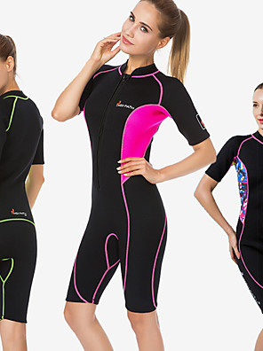 cheap Wetsuits, Diving Suits & Rash Guard Shirts-Women's Shorty Wetsuit 3mm Neoprene Diving Suit UV Sun Protection Ultraviolet Resistant Short Sleeve Front Zip - Swimming Diving Surfing Patchwork Summer Fall