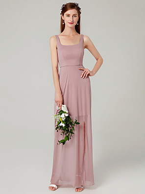 cheap Special Occasion Dresses-Sheath / Column Spaghetti Strap Floor Length Mesh Bridesmaid Dress with Pleats / Split Front