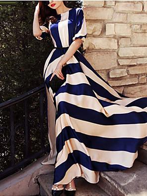 cheap Women's Dresses-Women's Maxi long Dress Blue & White Swing Dress - Long Sleeve Striped Print Spring Summer Elegant Holiday Screen Color S M L XL XXL XXXL XXXXL