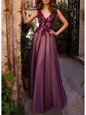 cheap Bridesmaid Dresses-A-Line Elegant Formal Evening Dress Plunging Neck Sleeveless Floor Length Lace Tulle with Lace Insert 2020