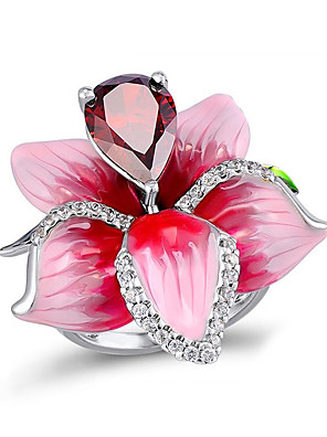 cheap Quartz Watches-Women's Statement Ring Ring Cubic Zirconia 1pc Pink Copper Silver-Plated Geometric Stylish Simple Party Gift Jewelry Classic Flower Cool