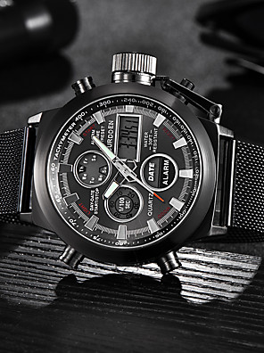 cheap Sport Watches-Men's Dress Watch Quartz Formal Style Sporty Luxury Day Date Stainless Steel Black / Silver Analog - Digital - White Black One Year Battery Life