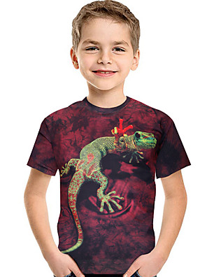 cheap Boys' Tops-Kids Toddler Boys' Active Basic Geometric Print 3D Print Short Sleeve Tee Wine / Animal