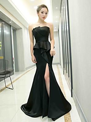 cheap Evening Dresses-Mermaid / Trumpet Peplum Black Party Wear Formal Evening Dress Strapless Sleeveless Court Train Satin with Ruffles Split Front 2020