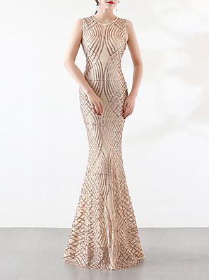 cheap Evening Dresses-Mermaid / Trumpet Elegant & Luxurious Elegant Formal Evening Dress Jewel Neck Sleeveless Sweep / Brush Train Sequined with Sequin 2020