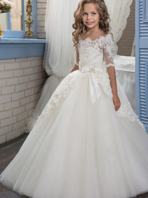 cheap Flower Girl Dresses-Ball Gown Floor Length Christmas / Wedding / Pageant Flower Girl Dresses - Cotton / nylon with a hint of stretch / Organza / Tulle Half Sleeve Boat Neck with Lace / Bow(s) / Appliques