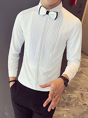 cheap Shirts-Men's Striped Solid Colored Print Shirt Basic Casual / Daily White / Black