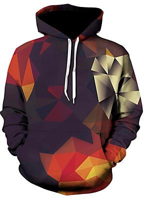 billiga Huvtröjor och sweatshirts till herrar-Herr Plusstorlekar Huvtröja Färgblock Regnbåge Tecknat Huva Ledigt Aktiv Pull Tröjor Regnbåge