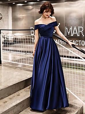 cheap Evening Dresses-A-Line Elegant Vintage Inspired Prom Dress Off Shoulder Short Sleeve Floor Length Satin with Sash / Ribbon Ruched 2020