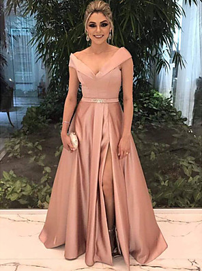 cheap Bridesmaid Dresses-A-Line Elegant Pink Prom Formal Evening Dress Off Shoulder Short Sleeve Sweep / Brush Train Satin with Split Front 2020