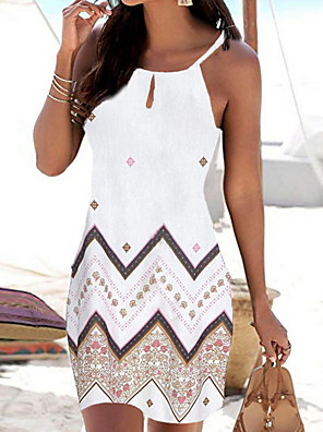 cheap Mini Dresses-Women's Strap Dress Short Mini Dress - Sleeveless Geometric Print Summer Boho Holiday Vacation Beach 2020 White Black Red Blue S M L XL