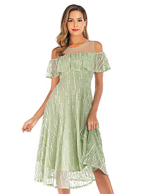 cheap Cocktail Dresses-A-Line Elegant Cute Holiday Cocktail Party Dress Jewel Neck Short Sleeve Tea Length Lace Tulle with Ruffles Tier Lace Insert 2020
