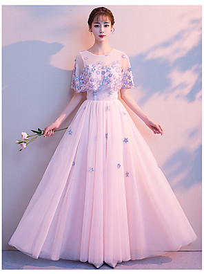 cheap Special Occasion Dresses-A-Line Elegant Prom Dress Jewel Neck Sleeveless Floor Length Lace Satin Tulle with 2020
