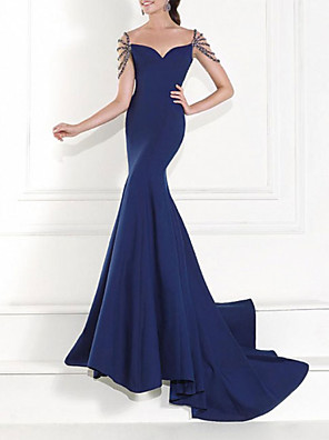cheap Evening Dresses-Mermaid / Trumpet Open Back Formal Evening Dress Sweetheart Neckline Short Sleeve Sweep / Brush Train Charmeuse with Crystals Beading 2020