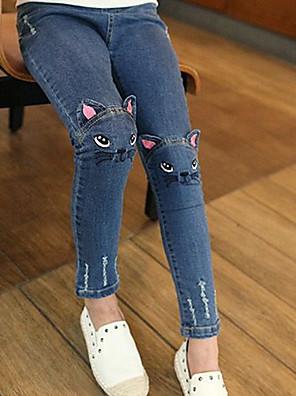 baratos Calças & Leggings para Meninas-Infantil Para Meninas Básico Sólido Jeans Azul