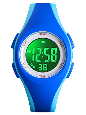 cheap Quartz Watches-SKMEI Girls' Digital Watch Digital Sporty Stylish Outdoor Military Black / Blue / Rose Digital - Black Blue Blushing Pink One Year Battery Life / Water Resistant / Waterproof / Alarm / Chronograph