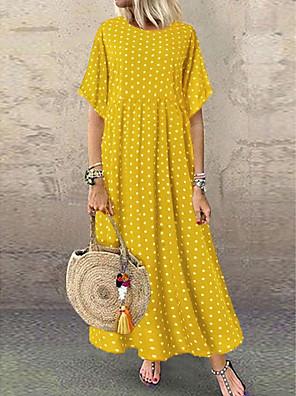 cheap Maxi Dresses-Women's A-Line Dress Maxi long Dress - Short Sleeve Polka Dot Print Summer Plus Size Casual Holiday Vacation Loose High Waist 2020 Yellow Wine Navy Blue L XL XXL XXXL XXXXL XXXXXL