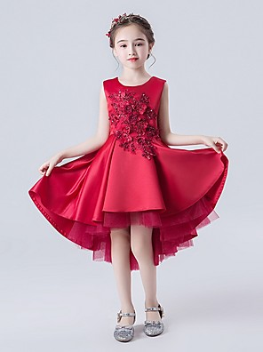 cheap Flower Girl Dresses-A-Line Asymmetrical Wedding / Pageant Flower Girl Dresses - Satin Sleeveless Jewel Neck with Appliques / Cascading Ruffles
