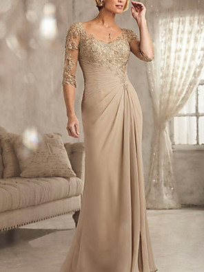 cheap Mother of the Bride Dresses-Sheath / Column Mother of the Bride Dress Sexy Plus Size See Through V Neck Floor Length Chiffon Lace Half Sleeve with Lace 2020