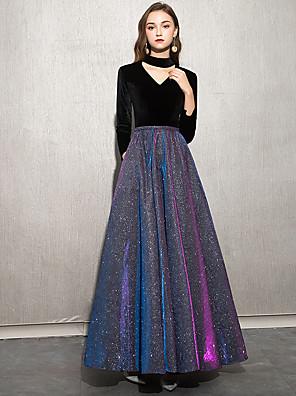 cheap Evening Dresses-A-Line Elegant Sparkle & Shine Prom Dress V Neck Long Sleeve Floor Length Sequined Velvet with 2020