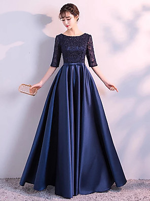 cheap Mother of the Bride Dresses-A-Line Chic & Modern Vintage Inspired Formal Evening Dress Jewel Neck Half Sleeve Floor Length Satin Stretch Satin Floral Lace with Sash / Ribbon Lace Insert 2020