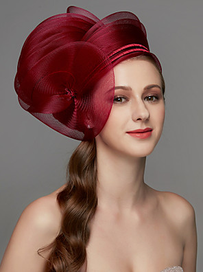 cheap Prom Dresses-Net Fascinators / Headdress / Headpiece with Feather / Flower / Trim 1 Piece Wedding / Special Occasion / Tea Party Headpiece